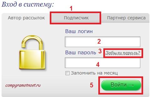 Вход в аккаунт подписчика Smartresponder.ru