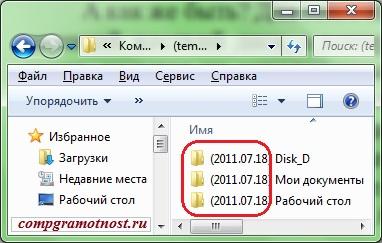Имена папок с копиями данных