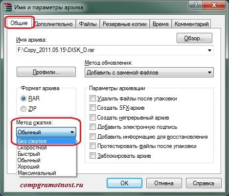Тип сжатия файлов