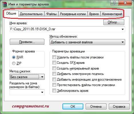7 вкладок программы WinRAR