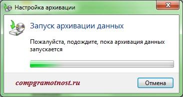 Надпись «Запуск архивации данных» Windows 7