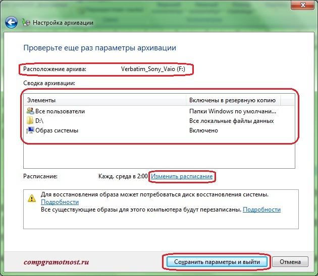 Финишная проверка всех параметров архивации данных Windows 7