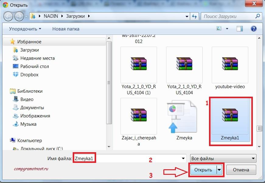 Открыть файл для DropMeFiles