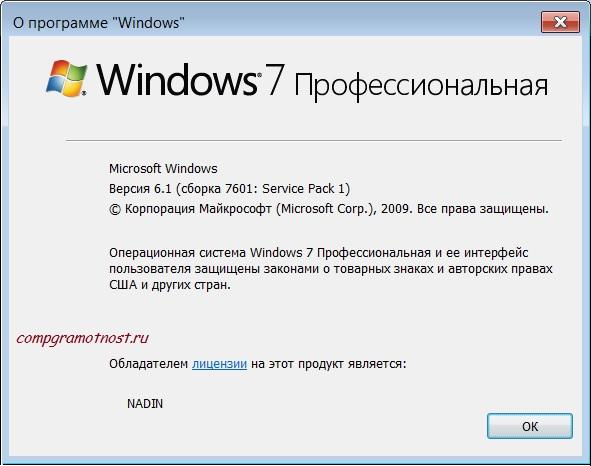 Результат выполнения команды для Windows 7
