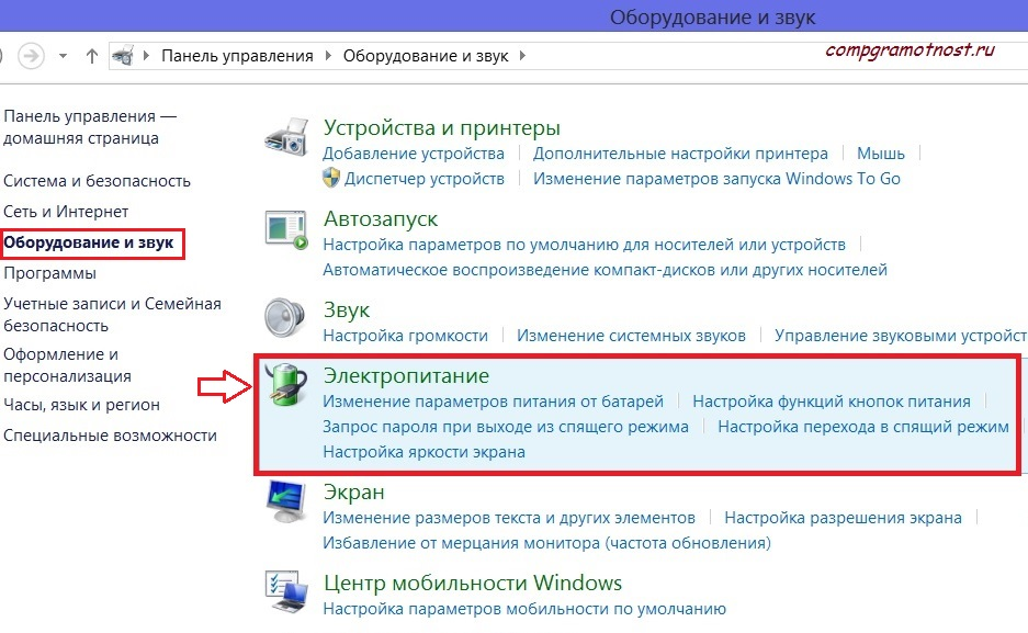 Электропитание Windows 8