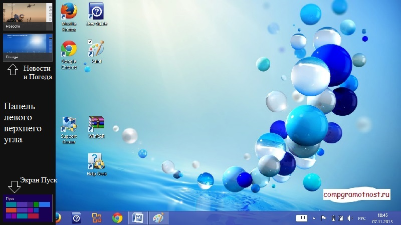 Windows 8 Рабочий стол с Панелью левого угла