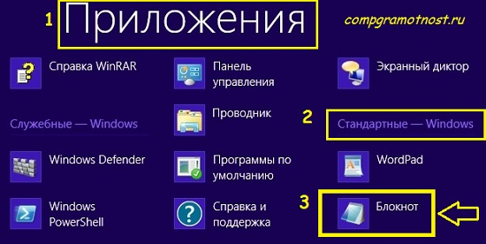 где блокнот в windows 8
