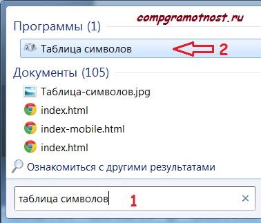 нашли таблицу символов windows 7