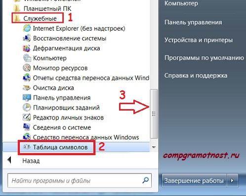 Таблица символов Windows 7 в Служебныз программах