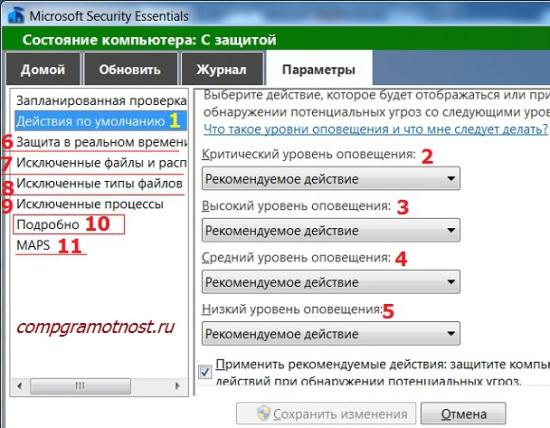 действия по умолчанию Антивируса Майкрософт для Виндовс 7