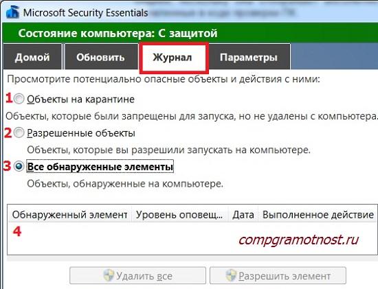 Журнал Антивируса Майкрософт для Виндовс 7