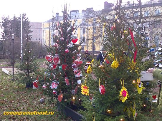 лес рождественских елок Хельсинки