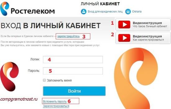 официальный сайт Ростелеком личный кабинет