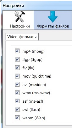 Рис. 2 Форматы видео, которые скачивает плагин Flash Video Downloader