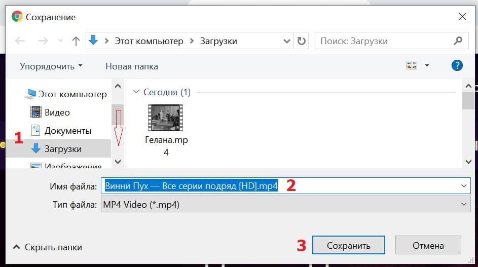 сохранить скачанное видео на компьютер