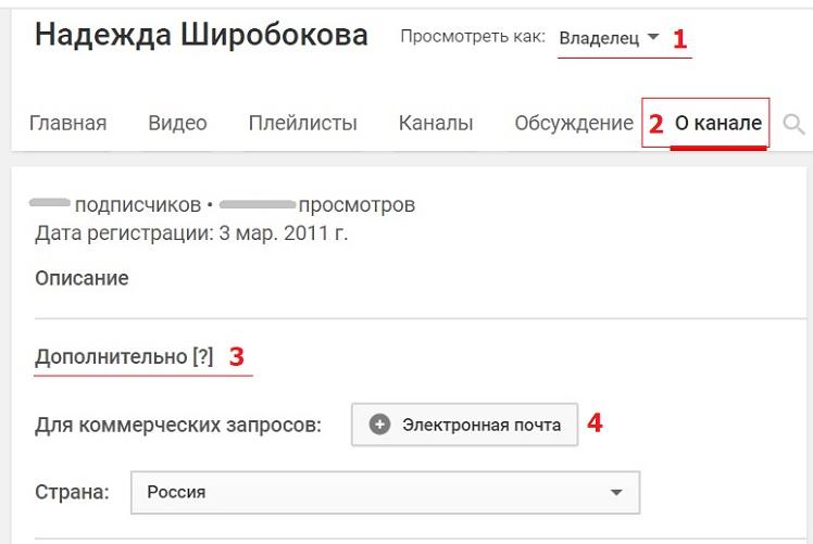 добавить e-mail в коммерческие запросы Youtube