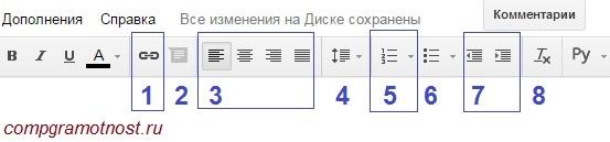 инструменты форматирования гугл документа