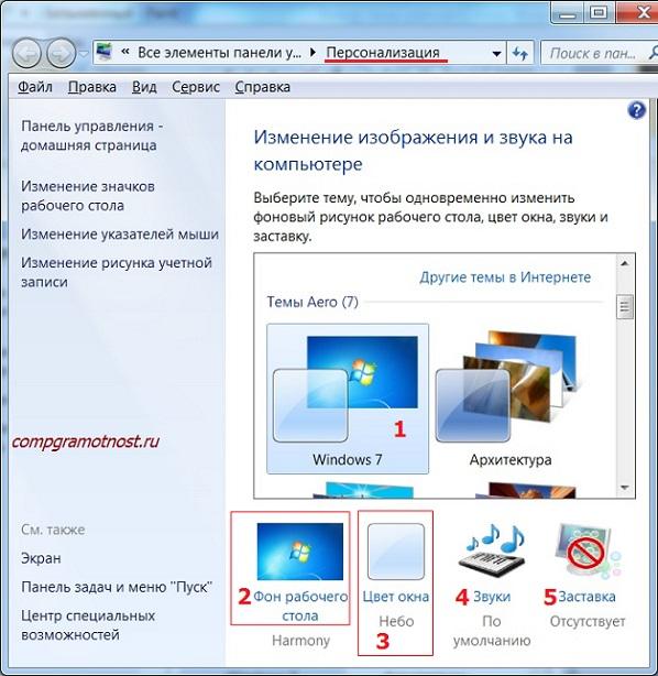 Персонализация Рабочего стола Windows 7