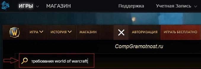 """запрос """"требования world of warcraft"""" внутри игры"""