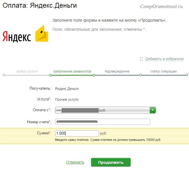 Пополнение счета Яндекс Деньги через Сбербанк