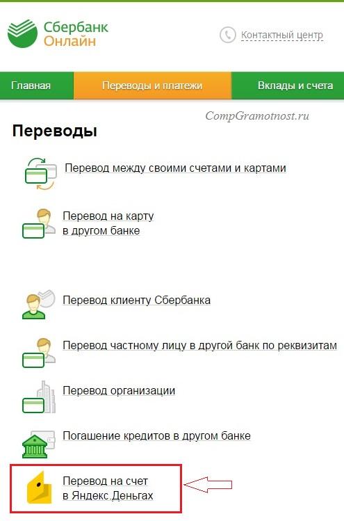 Сбербанк Онлайн: перевод на счет в Яндекс Деньгах