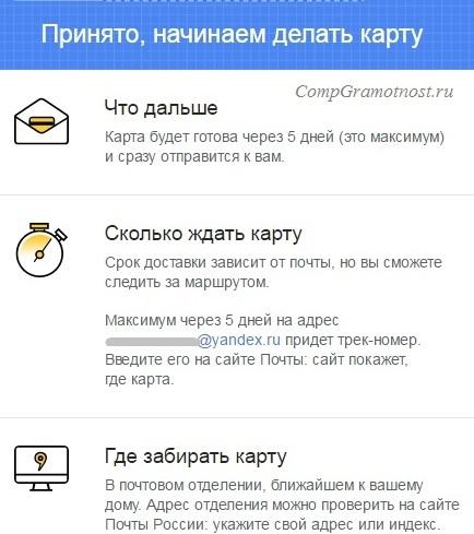данные для выпуска карты Яндекс деньги получены