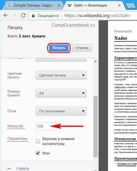 Масштаб и параметры для PDF в Chrome