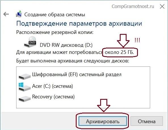 Подтверждение параметров архивации перед созданием образа Windows 10