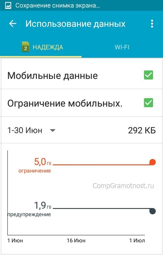 ограничение на трафик в Андроиде - 5 ГБ