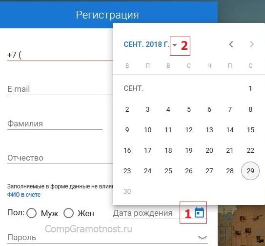 календарь для выбора даты рождения