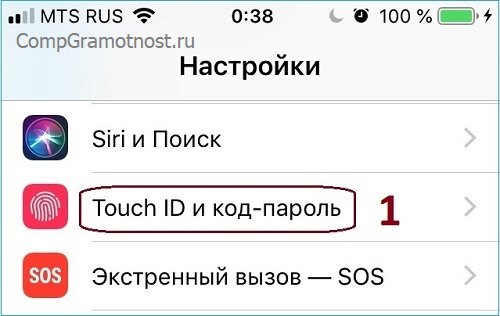 Где настройки для сканирования пальца владельца айфона