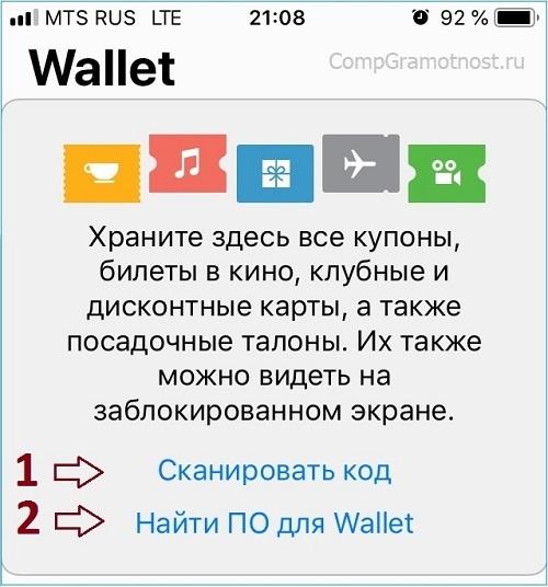 Окно приложения Wallet на iPhone 5s