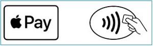 Значки на терминалах для бесконтактной оплаты банковскими картами или с помощью смартфонов и айфонов