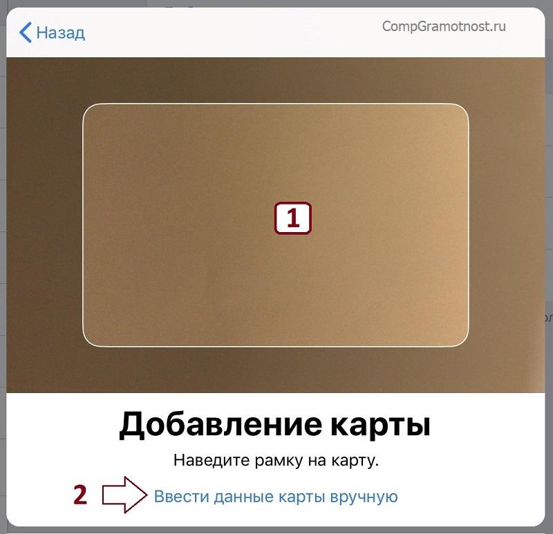 сканирование данных банковской карты вWallet и Apple Store в iPad
