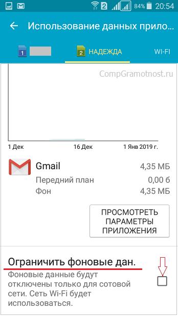использование фоновых данных для Gmail