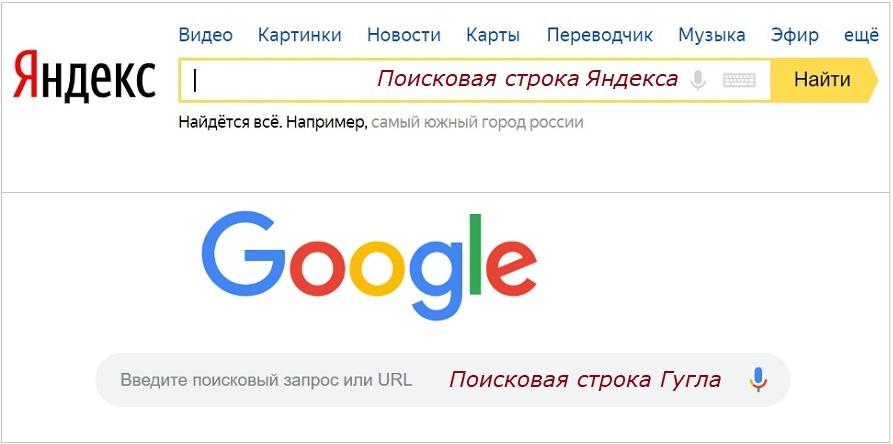 Поисковая строка Яндекса и Google