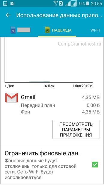 включено ограничение фоновых данных для Gmail