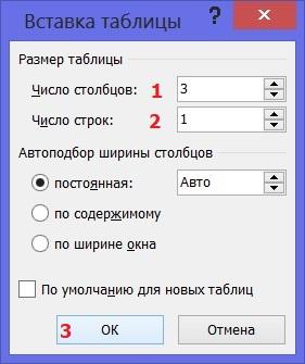 Ввод параметров таблицы в Word