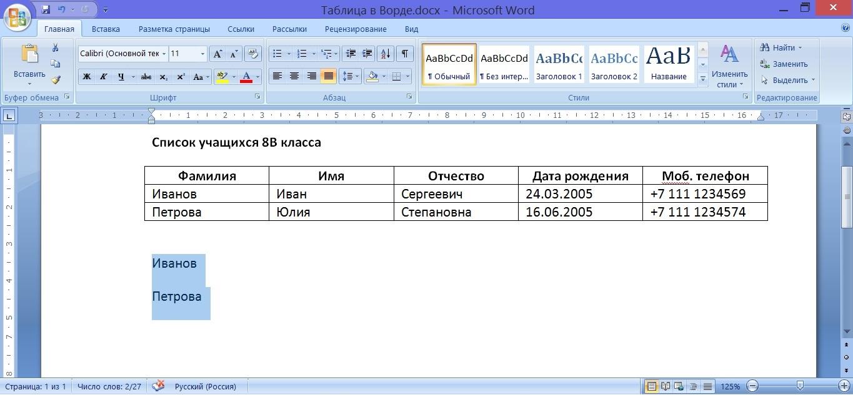 данные таблицы преобразованы в текст в Ворде