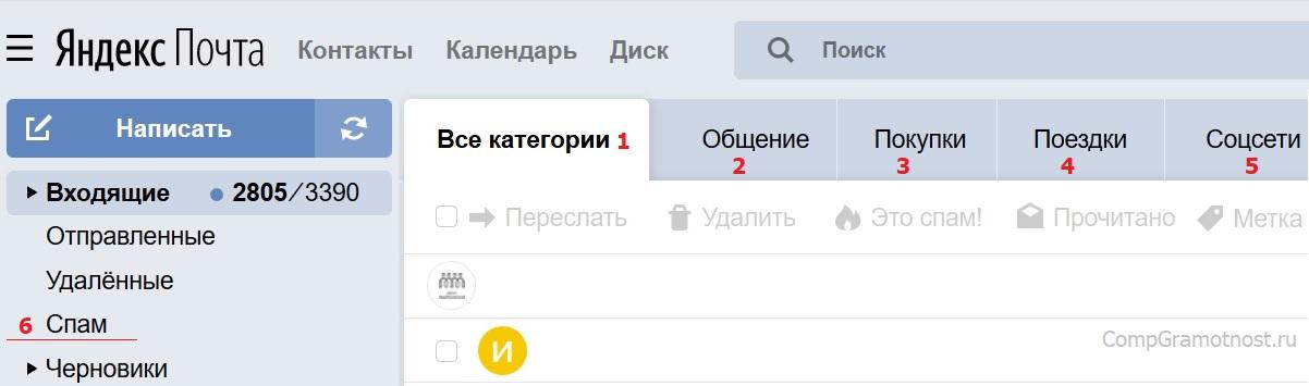 Почта yandex Спам Все категории Общение Покупки Поездки Соцсети