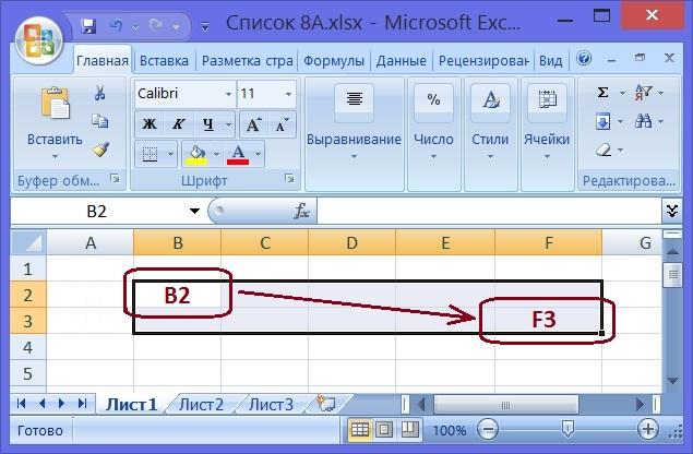 на листе Excel выделена область между ячейками B2 и F3
