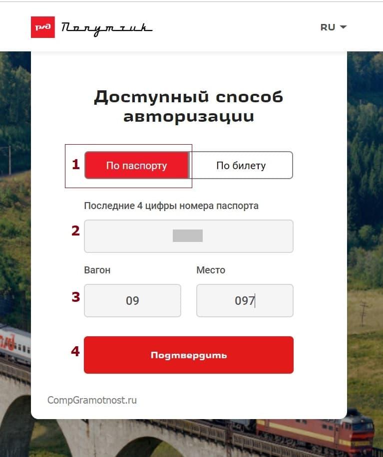 ввод данных пассажира для авторизации в сети WiFi поезда РЖД