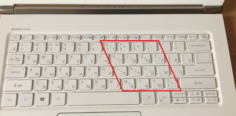 малая цифровая клавиатура на ноутбуке