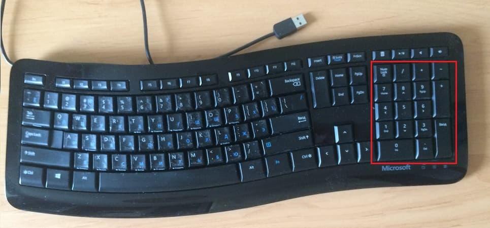 малая цифровая клавиатура на полноразмерной клавиатуре компьютера