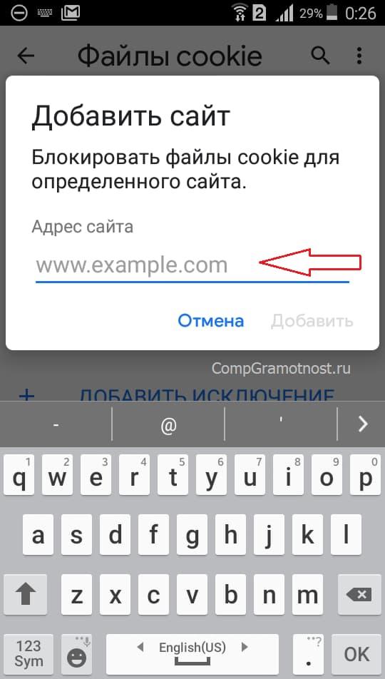 Окно настроек исключений для куки на Андроиде