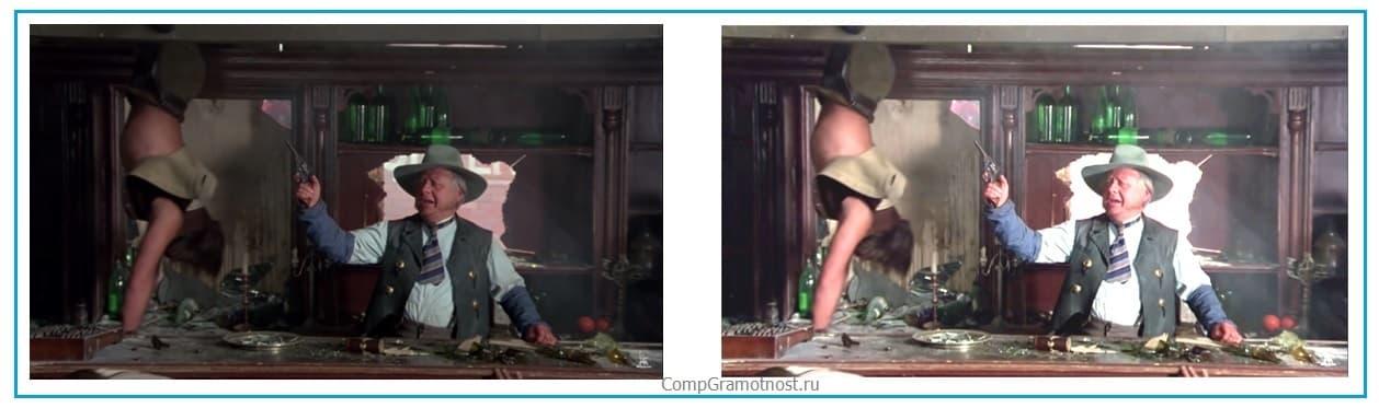 Сравнение яркости и контрастности темной и новой картинок