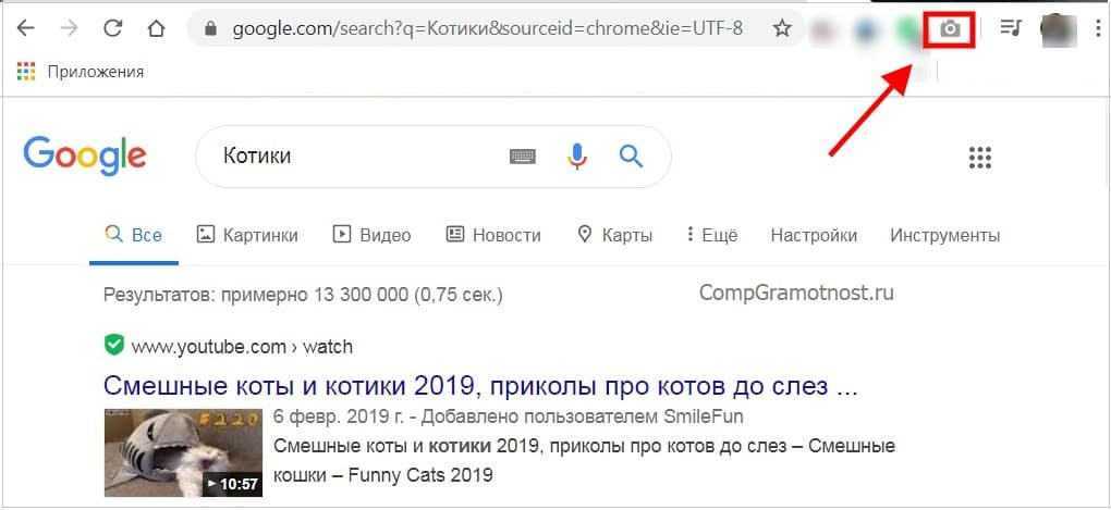 значок Full Page Screen Capture в браузере Гугл Хром