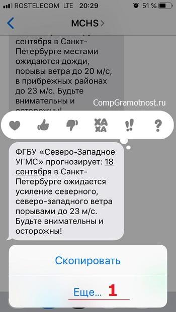 контекстное меню iPhone для удаления выбранного SMS