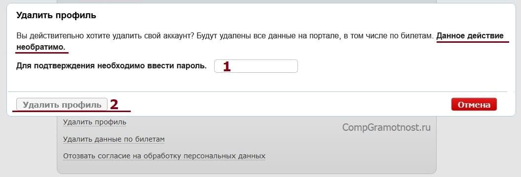 ввод пароля для подтверждения удаления профиля РЖД