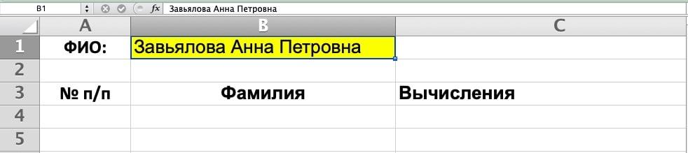 Ввод ФИО в ячейку B1 в Excel
